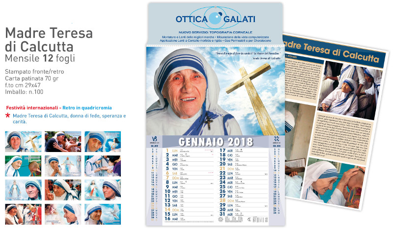 Calendario Madre Teresa di Calcutta