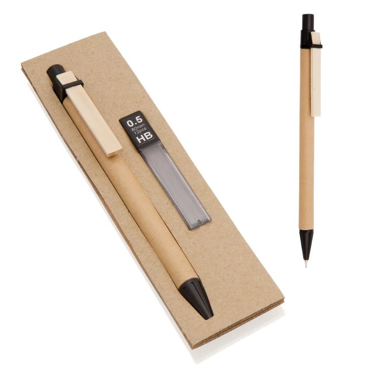 Matita con clip in legno