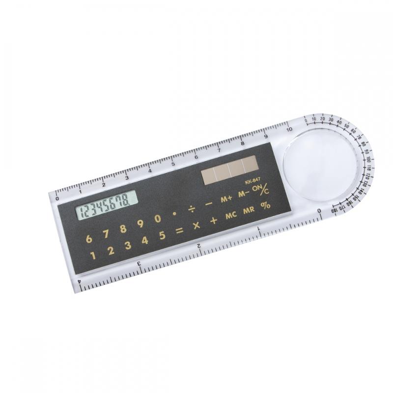 Calcolatrice solare, righello e lente